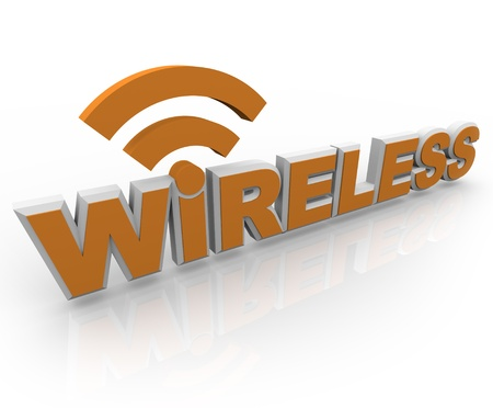 The word Wireless in orange letters and an RSS symbol, representing mobility and internet connections Stock Photo - 9011806