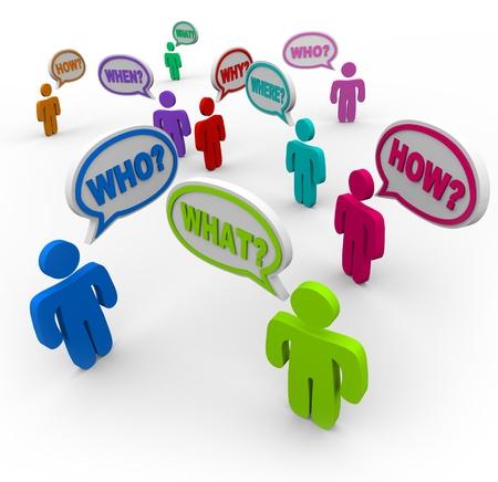 answers questions: Molte persone che parlano allo stesso tempo, chiedendo aiuto con parole in bolle di discorso - parole di domanda come chi, cosa, dove, quando, come e perch�