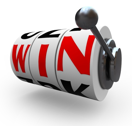 The word Win lines up for a jackpot on slot machine wheels, symbolizing luck and odds 스톡 콘텐츠