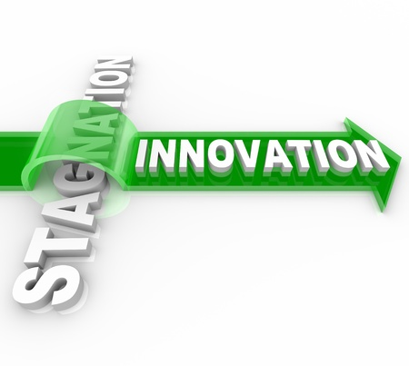problem solution: The word Innovation on an arrow jumping over the word Stagnation, symbolizing the forward motion of creative change over the status quo Stock Photo