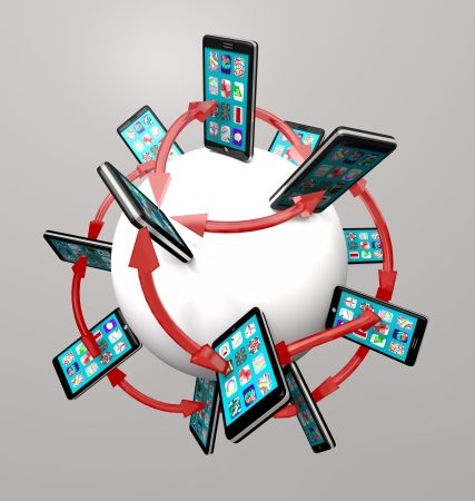 Many modern smart phones with apps on their touch screens around a global communication network, connected by arrows symbolizing networking