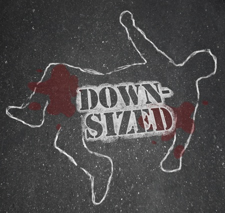 A chalk outline of a dead body symbolizing someone who was downsized out of a job -- laid off and unemployed Stock Photo - 9107913