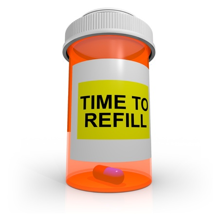 refill: An orange prescription bottle that contains just one pill has a label that reads Time to Refill