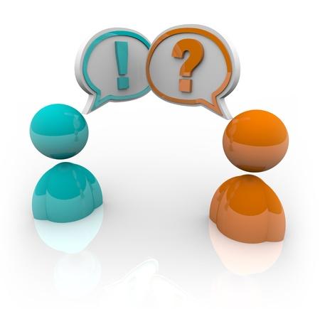 Twee mensen met tekstballonnen - één met een vraagteken en een ander met een uitroepteken, symboliseert het verschil in advies en standpunten