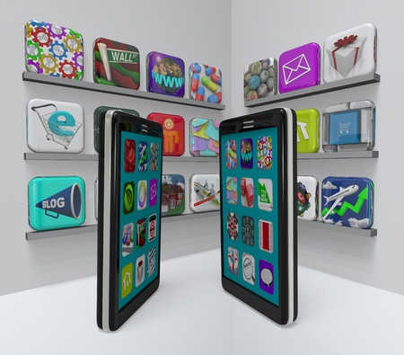 mobiele telefoons: Twee slimme telefoons staan in een app store, doorlezen van de markt voor nieuwe apps te downloaden