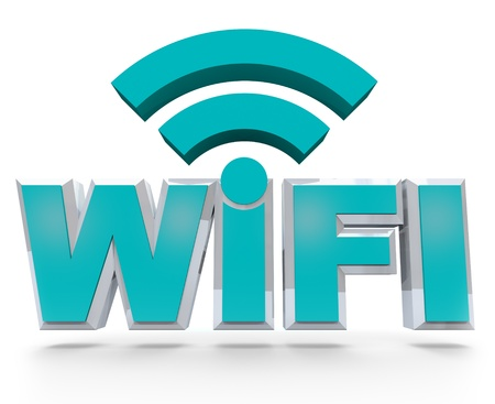 wifi access: The letters Wi-Fi in 3d, denoting that an area is a wireless hot spot for computers to connect to the internet and surf the web