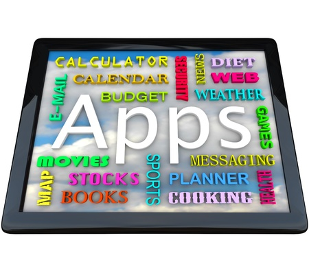 A tablet computer with many words symbolizing the different types of application software you can download on this new computing device Stock Photo - 9107986