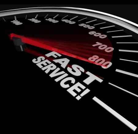 Fast Service words on a speedometer, symbolizing speedy customer support in a business photo