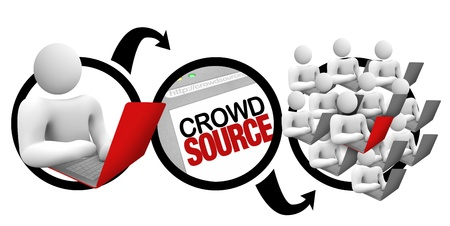 crowdsource: A diagram of a person initiating a project on a laptop, and outsourcing it to a large community of contributors who crowd source together on it to reach the desired results Stock Photo