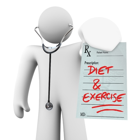 prescribing: A doctor holds a prescription with the words Diet and Exercise written on it, symbolizing preventative living and a healthy lifestyle Stock Photo