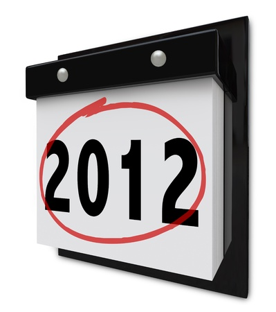 A wall calendar with tear-away pages that read the number 2012 Stock Photo - 9151980