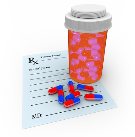 painkiller: A medicine bottle with several pills outside of it, sitting on a blank prescription note Stock Photo