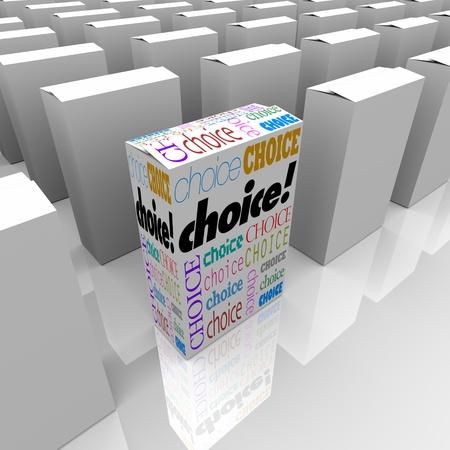 verschillen: Veel vakken op een plank winkel, een met het woord keuze vertegenwoordigt een nieuwe en andere mogelijkheid om te kiezen