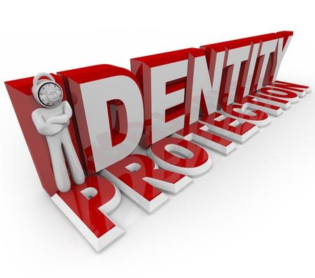 elementos de protecci�n personal: Un hombre con una cerradura de combinaci�n para una cabeza representa la letra I en las protecci�n de la identidad, simbolizando la protecci�n de un guardia de seguridad en prevneting delito de palabras