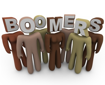 generational: Several people of different colors with letters for heads spelling the word Boomers