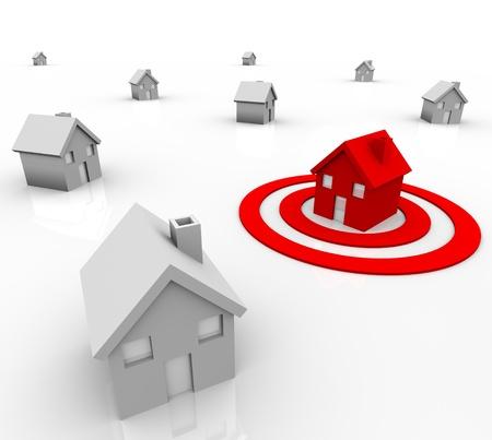 人口統計および人口のターゲット マーケティングを象徴する、赤いターゲット ブルズアイで座っている白い家の近所で際立っている 1 つの赤い家