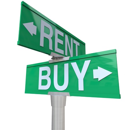 A green two-way street sign pointing to Buy and Rent, symbolizing being at a crossroads and deciding between renting a house, car or other object versus the benefits of buying Imagens