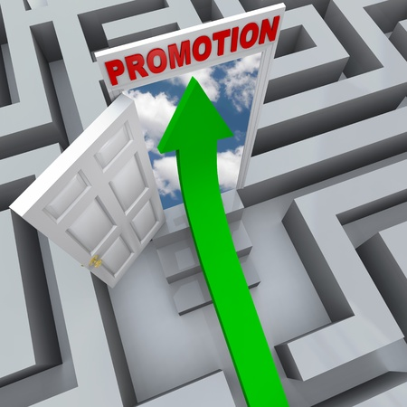 An arrow shoots through a maze to find an open door to a promotion, symbolizing career success Imagens