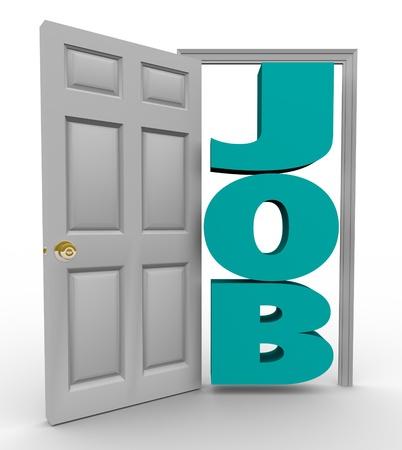 job opening: Una puerta que se abre para revelar la palabra trabajo, representando una exitosa b�squeda de empleo y una posici�n de inicio