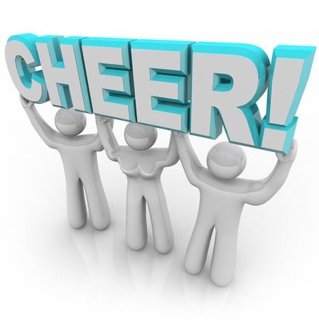 voices: Un equipo de cheerleaders levantar la palabra alegr�a en un mitin de pep a estimular y alentar a otros