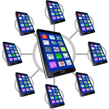 mobile app: Many smart phones with apps in a communication network, representing the connections possible with mobile devices