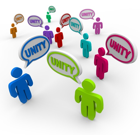 talking: Many people talking at the same time, pledging allegiance to the group by speaking the word Unity