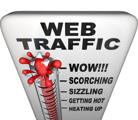 increases: A thermometer with words Web Traffic  Stock Photo