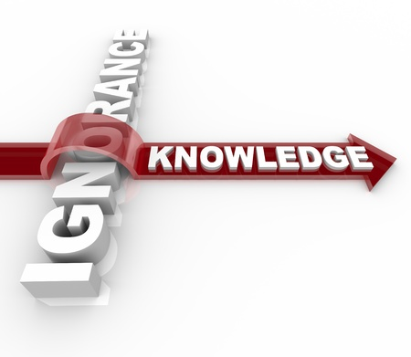 enhancement: An arrow with the word Knowledge jumps over and overcomes Ignorance Stock Photo