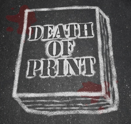 A chalk outline of a book symbolizing the death of the print industry due to the rise of new technologies like e-books and e-readers Stock Photo