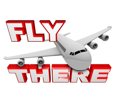 A jet airplane flies above the words Fly There, symbolizing the ability to use air travel to get to your destination Stock Photo