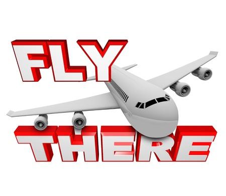 Een jet-vliegtuig vliegt boven de woorden vliegen er, de mogelijkheid om te reizen per vliegtuig gebruiken om naar uw bestemming symboliseert