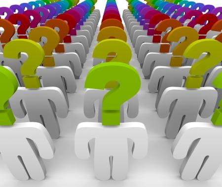 query: Een menigte van mensen met vraagteken hoofden symboliseert wonder en verwarring, aan customer support om vragen te beantwoorden