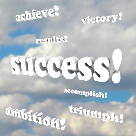 The words success, victory, ambition, accomplish and more 3d phrases against a cloudy sky Stock Photo - 9379873
