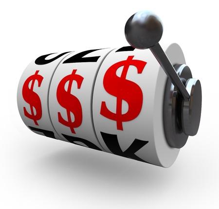 incertezza: Dollaro tre segni linee per un jackpot su 3 ruote della slot machine, che simboleggia un jackpot di ricchezza, di soldi, di ricchezze Archivio Fotografico