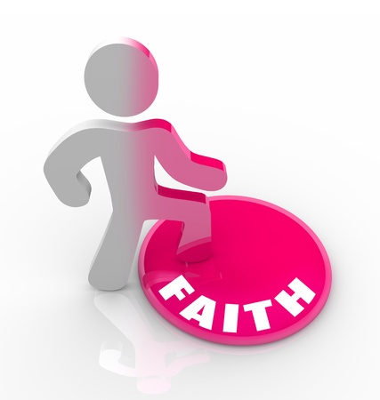 A person stands onto a button marked Faith and his color transforms to symbolize his religious devotion and spirituality Stock Photo - 9391673