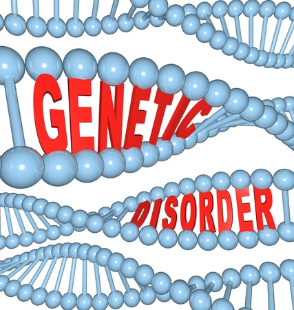 The words Genetic Disorder within strands of DNA, symbolizing the mutations in hereditary genes that cause diseases and conditions such as cancer