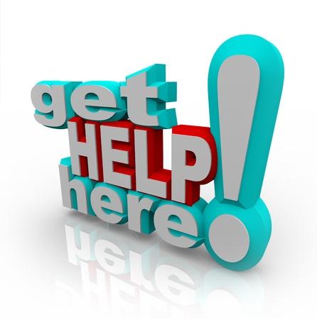De woorden Get Help Here symboliseert de noodzaak om ondersteuning en antwoorden op klanten vragen of op zoek naar een helpende hand te bieden