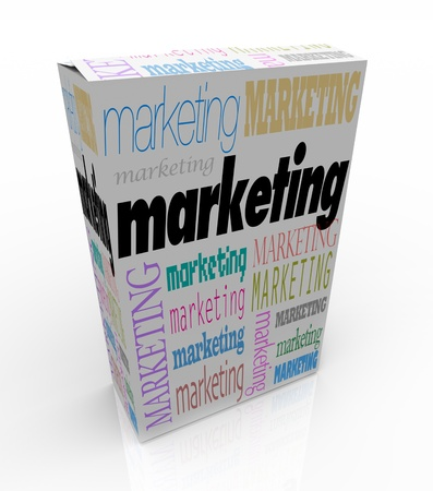 A product box with with the word Marketing calling attention to it, symbolizing the power of advertising to draw buyers when unique advantages and benefits of the merchandise is promoted Stock Photo - 9428968