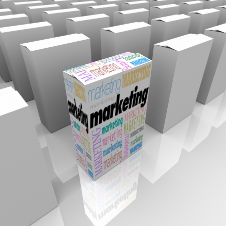 retailing: Many boxes on a store shelf, one with the word Marketing promoting its unique selling proposition