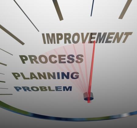 Een snelheidsmeter met naald racing tot verbetering, voorbij de woorden probleem, de planning en het proces, symboliseert de noodzaak om te voeren wijzigen om een situatie te verbeteren Stockfoto