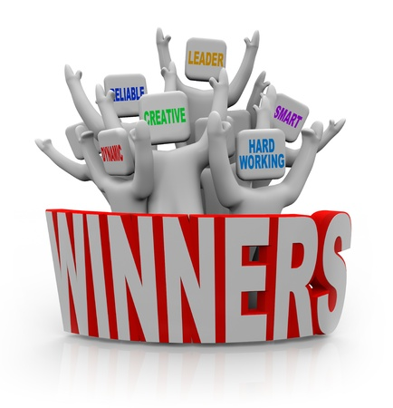winning team: A group of cheering people with teamwork qualities on their heads -- leader, smart, hard-working, creative, reliable, dynamic -- standing behind the word Winners Stock Photo