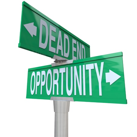 POSITIVE NEGATIVE: A green two-way street sign pointing to Dead End and Opportunity, symbolizing the choice between a path with no future and one with great potential for growth and success Stock Photo