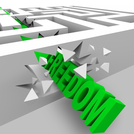 breaking free: A green word Freedom crashes through the walls of a maze to break through the barriers of oppression