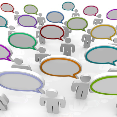 Many people speak with speech bubbles that are blank and can be filled with your text, or left empty to symbolize communication Stock Photo - 9455760