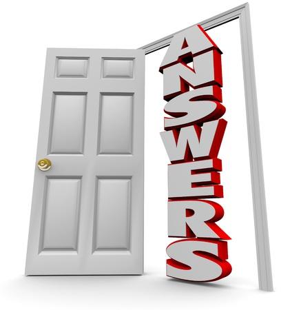 Une porte blanche s'ouvre pour révéler les réponses mot, représentant la recherche réussie de solutions aux questions complexes Banque d'images