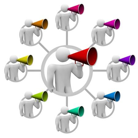 Illustratie van hoe iemand een persoon informatie kan laten verspreiden via een roddelnetwerk van veel mensen die een gerucht verspreiden