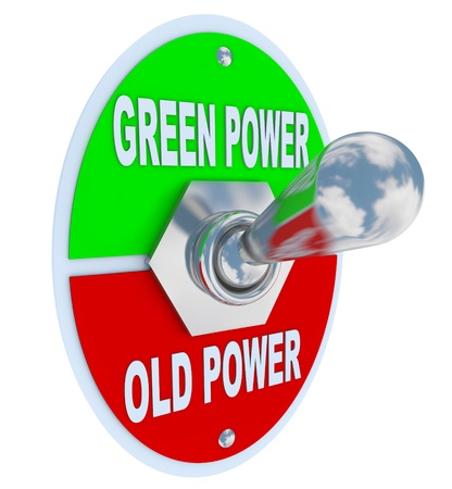 A metal toggle switch with plate reading Green Power and Old Power, flipped into the Earth friendly energy position, symbolizing the decision to be mindful of environmentally resposible fuel and energy solutions Stock Photo - 9486173