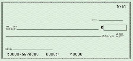checking account: A blank check design with open spacing for you to place your own words