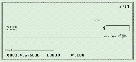 chequera: Un diseño de cheque en blanco con espacio abierto para que pueda colocar sus propias palabras