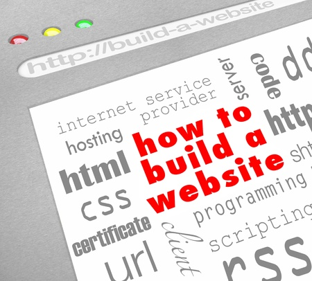A web browser window shows the words How to Build a Website surrounded by terms related to web site programming such as html, css, certificate, url, rss, hosting, programming, and more